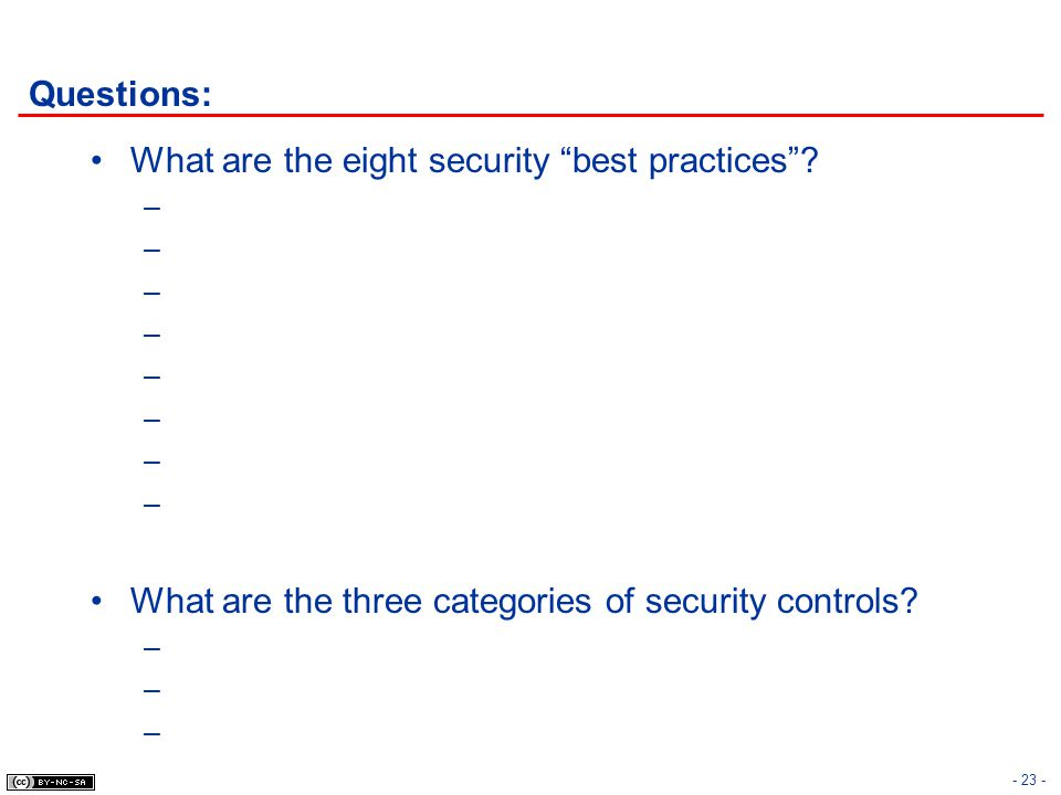 Questions: What are the eight security best practices .