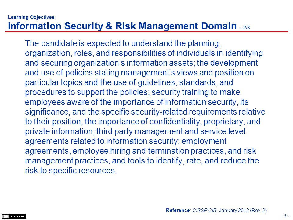Learning Objectives Information Security & Risk Management Domain ...2/3