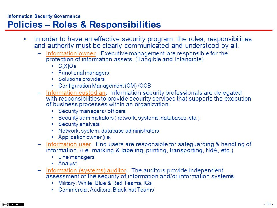 Information Security Governance Policies – Roles & Responsibilities