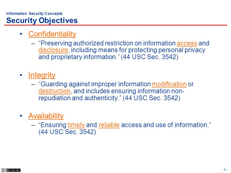 Information Security Concepts Security Objectives