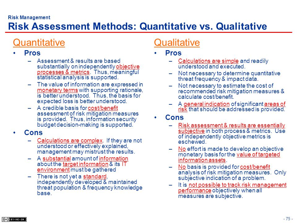 Risk Management Risk Assessment Methods: Quantitative vs. Qualitative