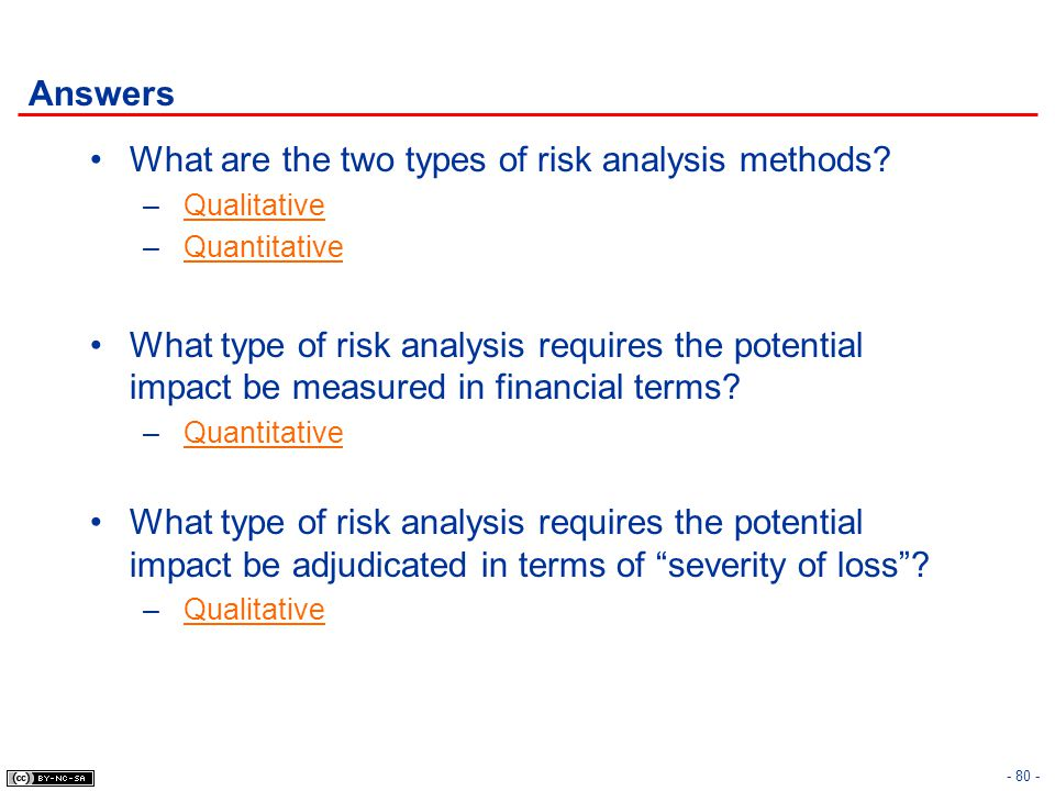 What are the two types of risk analysis methods