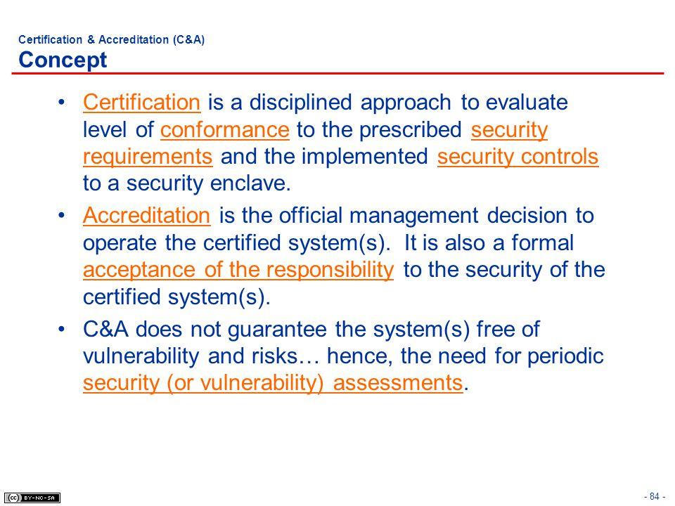 Certification & Accreditation (C&A) Concept
