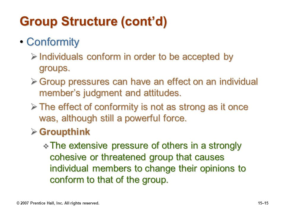 Group Structure (cont'd)