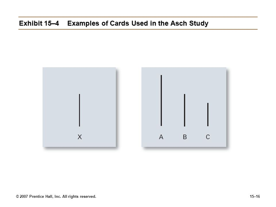 Exhibit 15–4 Examples of Cards Used in the Asch Study