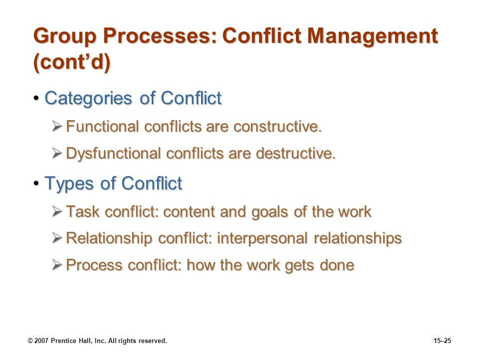 Group Processes: Conflict Management (cont'd)