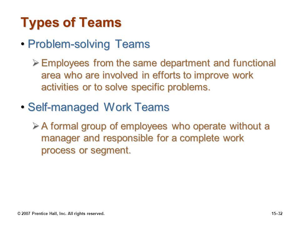 Types of Teams Problem-solving Teams Self-managed Work Teams
