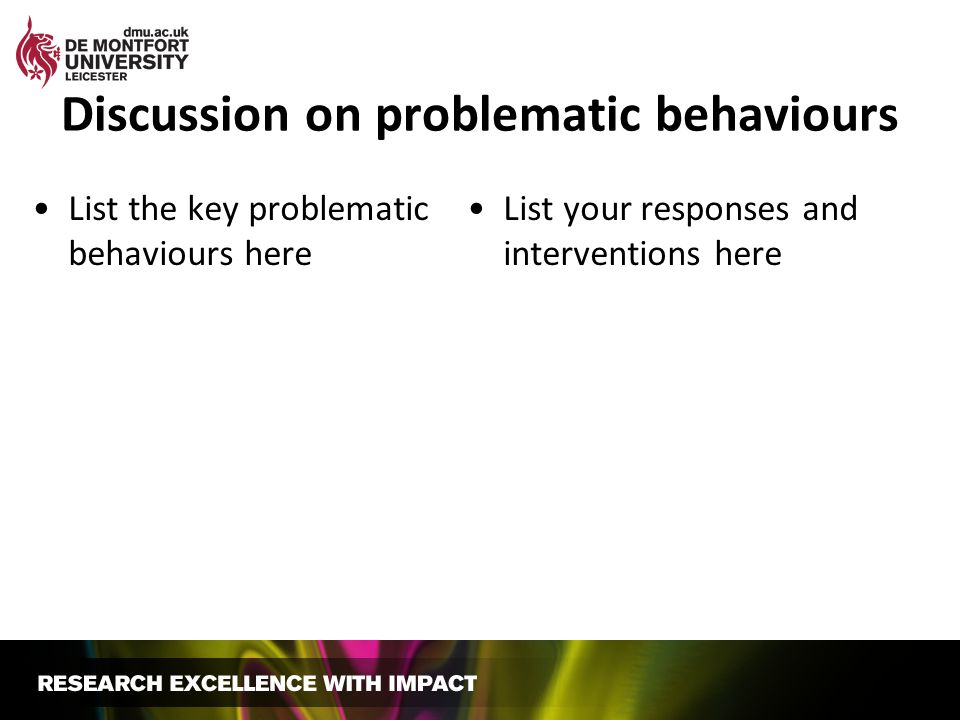 Discussion on problematic behaviours