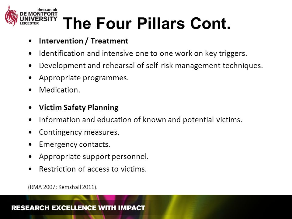 The Four Pillars Cont. Intervention / Treatment