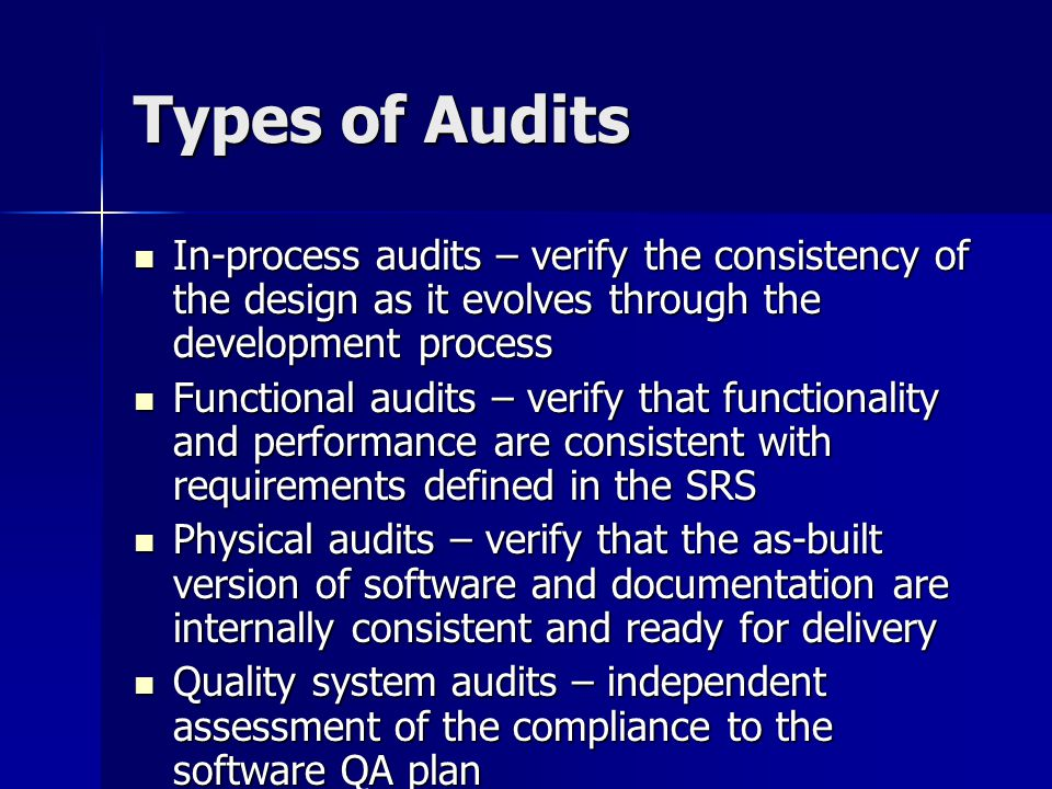 Types of Audits In-process audits – verify the consistency of the design as it evolves through the development process.