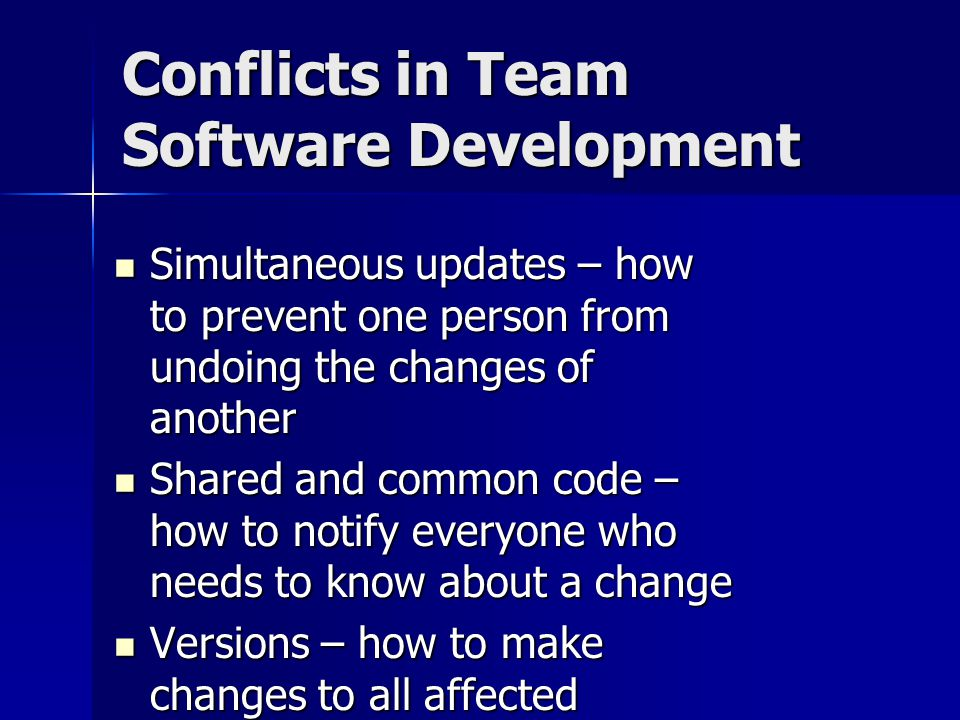 Conflicts in Team Software Development