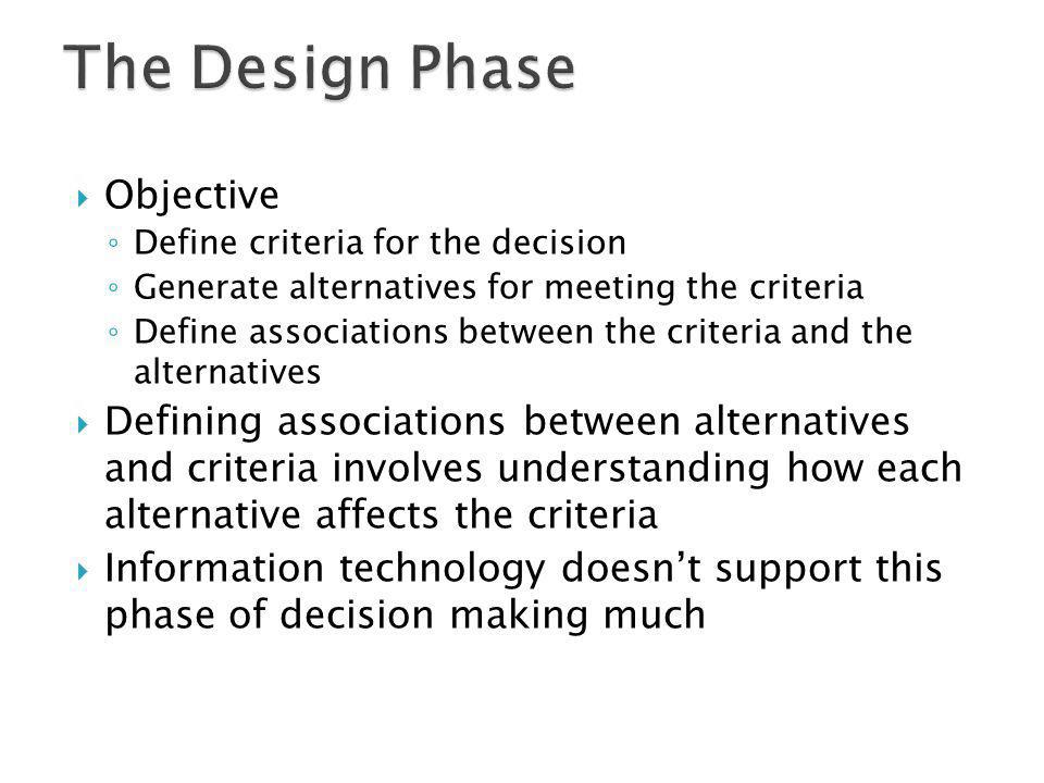 The Design Phase Objective