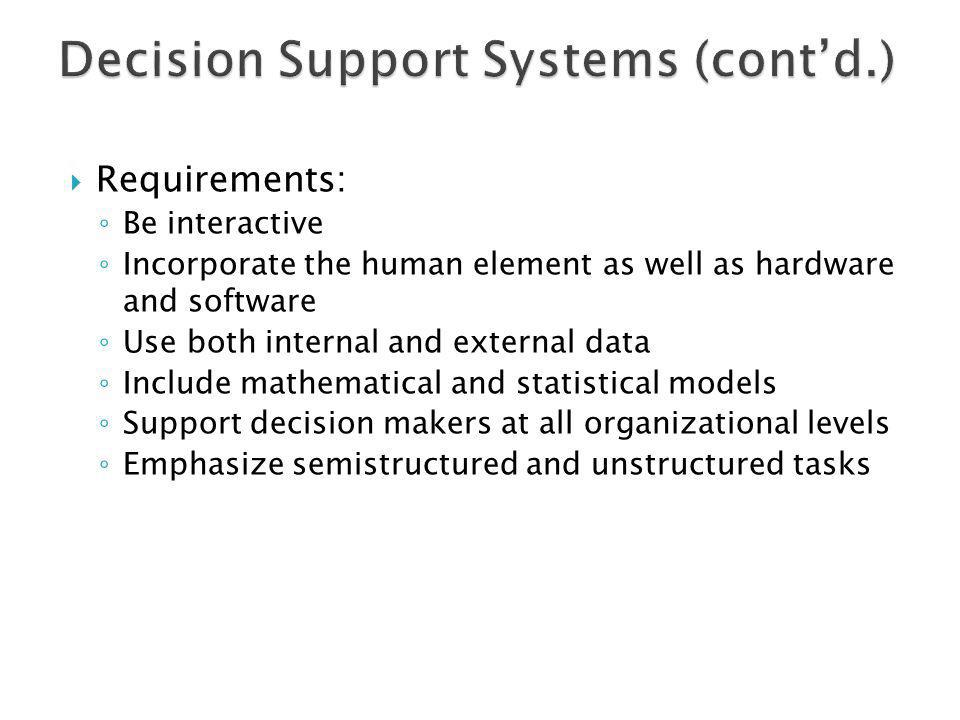 Decision Support Systems (cont'd.)
