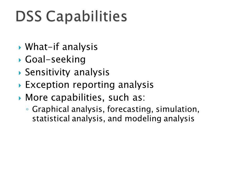 DSS Capabilities What-if analysis Goal-seeking Sensitivity analysis