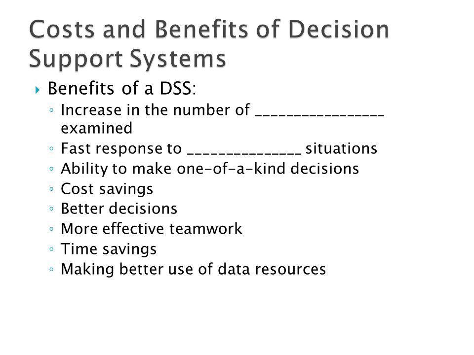 Costs and Benefits of Decision Support Systems