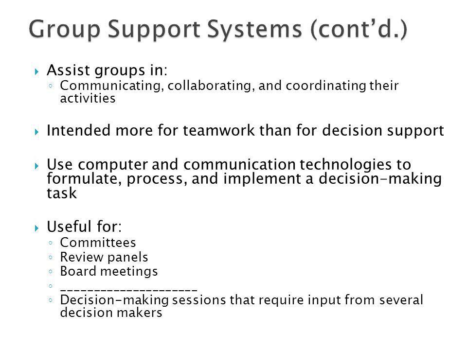 Group Support Systems (cont'd.)