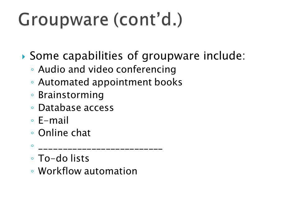 Groupware (cont'd.) Some capabilities of groupware include: