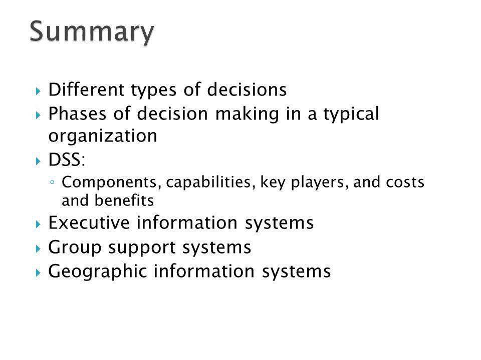 Summary Different types of decisions