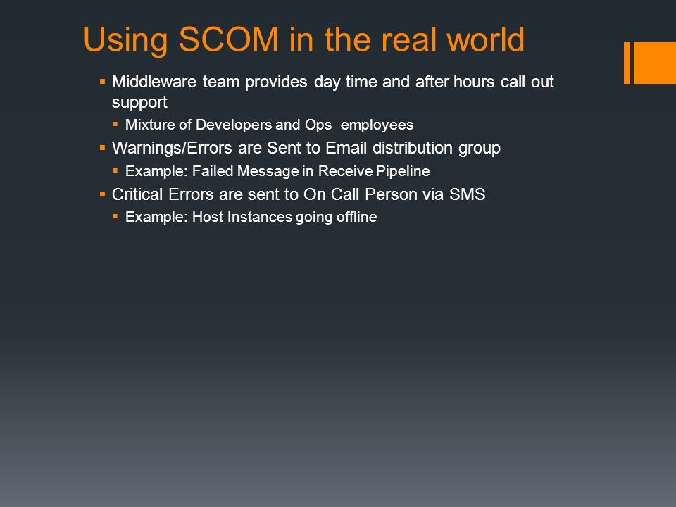 Using SCOM in the real world
