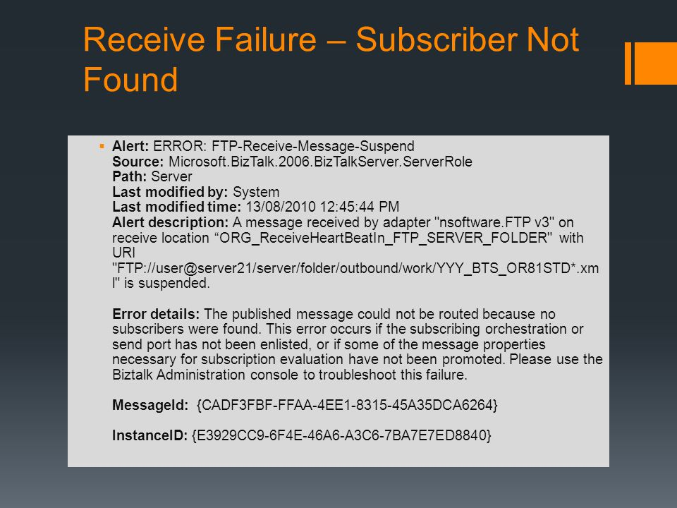 Receive Failure – Subscriber Not Found