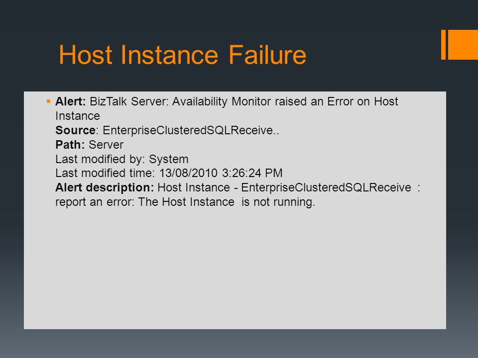 Host Instance Failure