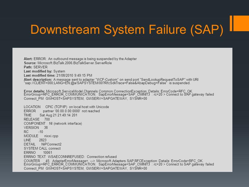 Downstream System Failure (SAP)