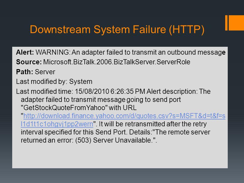 Downstream System Failure (HTTP)
