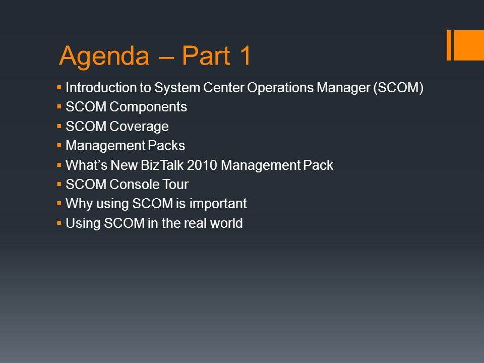 Agenda – Part 1 Introduction to System Center Operations Manager (SCOM) SCOM Components. SCOM Coverage.