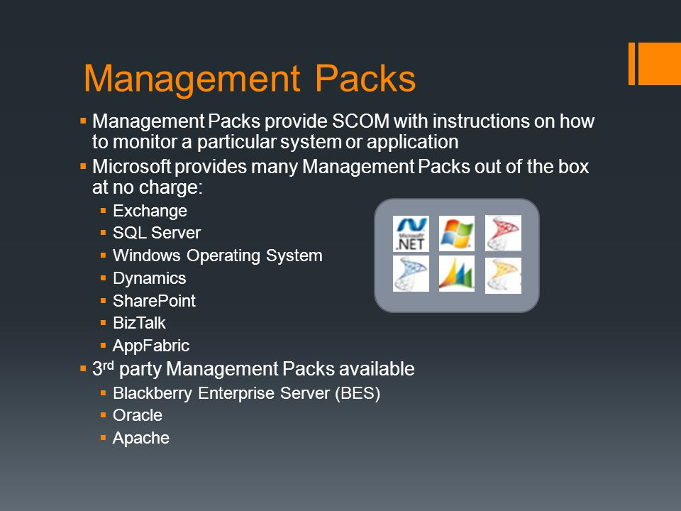 Management Packs Management Packs provide SCOM with instructions on how to monitor a particular system or application.
