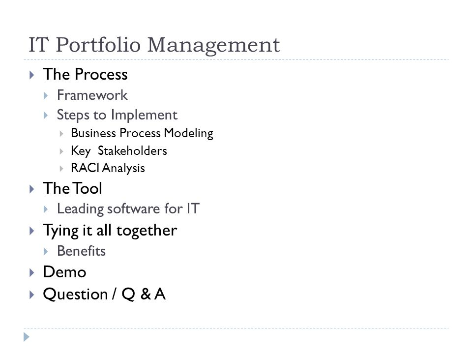 IT Portfolio Management