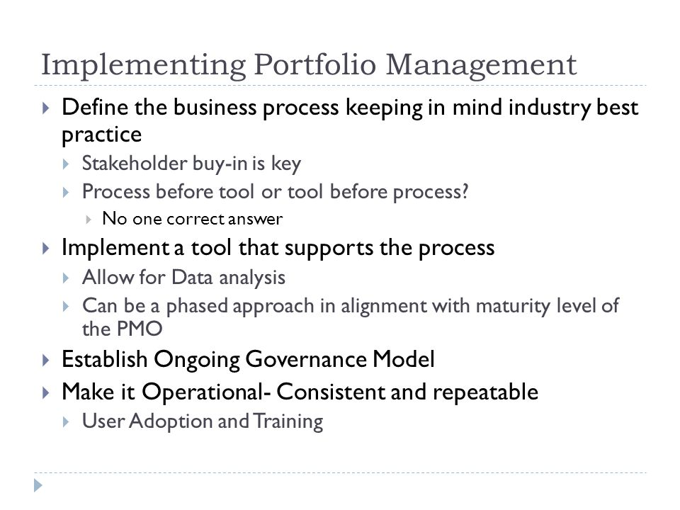 Implementing Portfolio Management