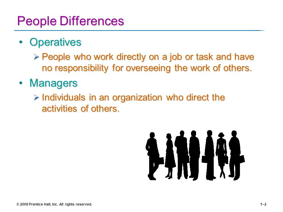 People Differences Operatives Managers