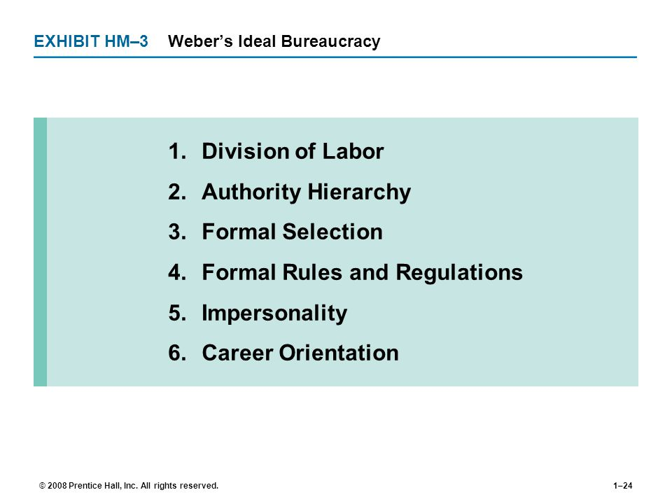 EXHIBIT HM–3 Weber's Ideal Bureaucracy