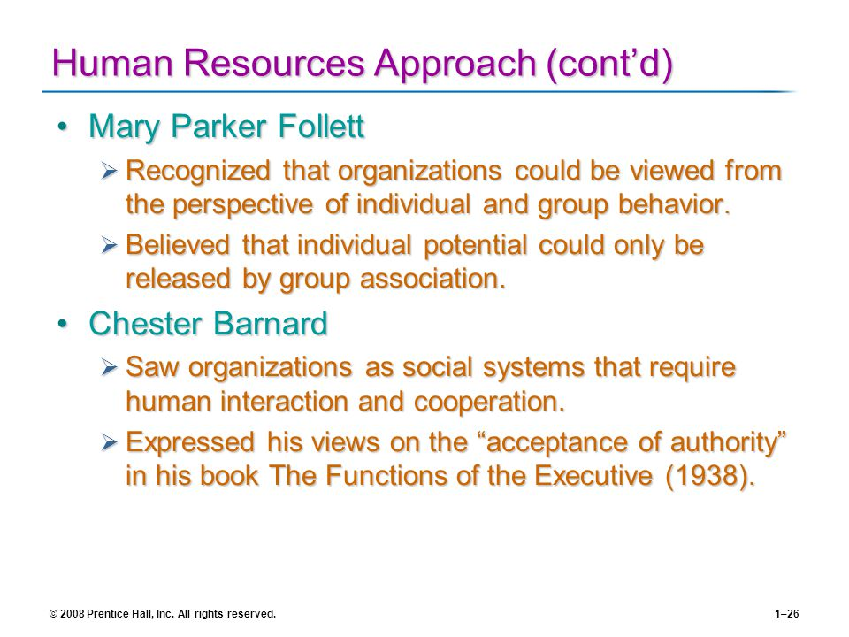 Human Resources Approach (cont'd)