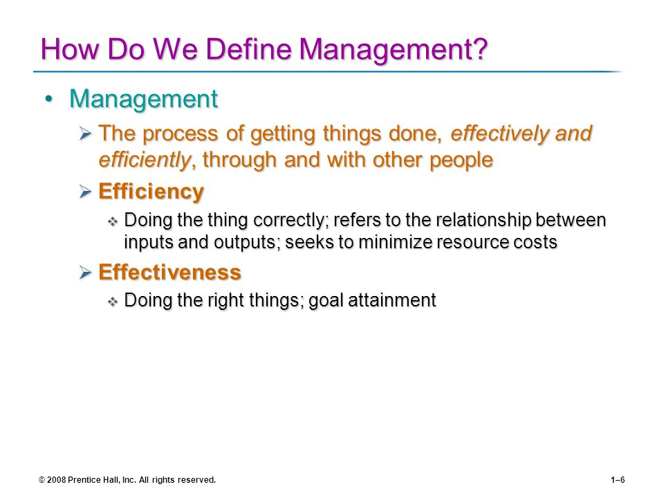 How Do We Define Management