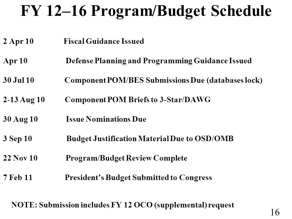 FY 12–16 Program/Budget Schedule