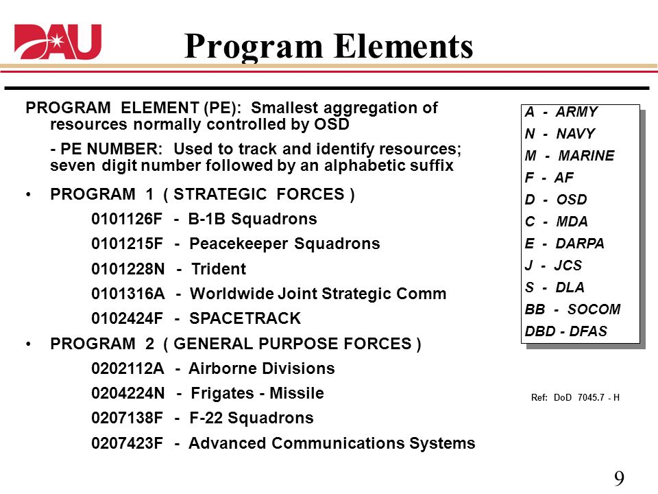 Program Elements PROGRAM ELEMENT (PE): Smallest aggregation of resources normally controlled by OSD.