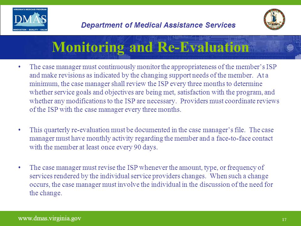 Monitoring and Re-Evaluation