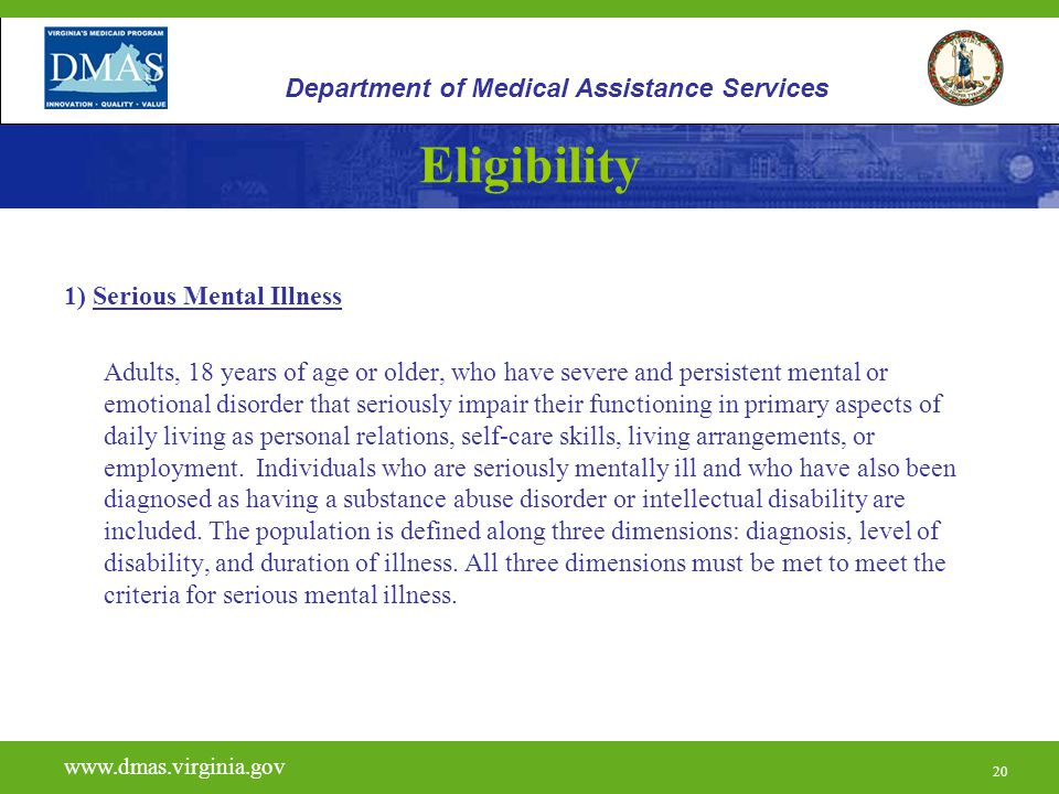 Eligibility Department of Medical Assistance Services