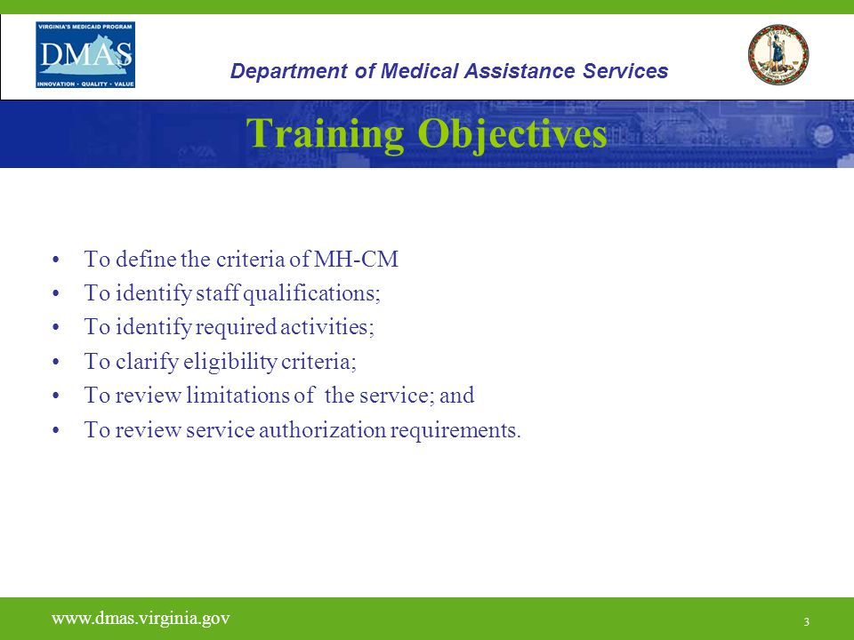 Training Objectives To define the criteria of MH-CM