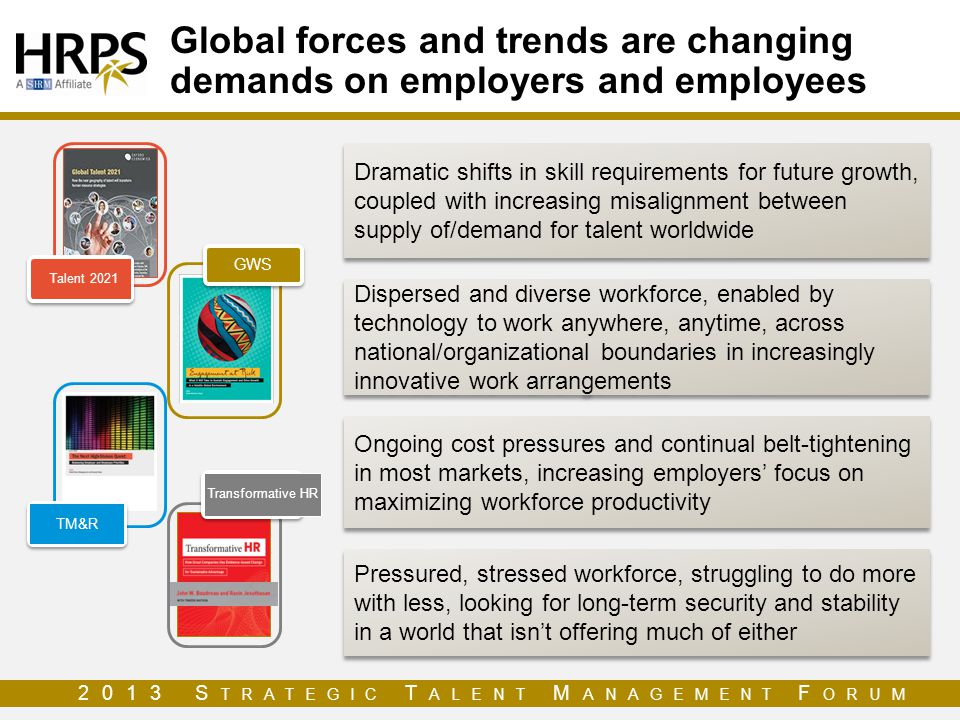 Global forces and trends are changing demands on employers and employees