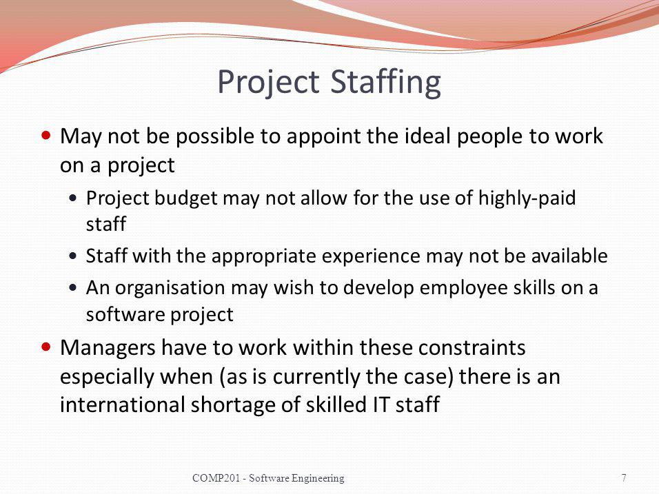 Project Staffing May not be possible to appoint the ideal people to work on a project. Project budget may not allow for the use of highly-paid staff.
