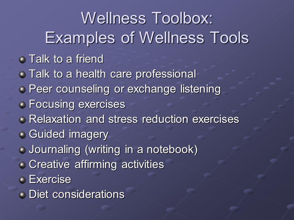 Wellness Toolbox: Examples of Wellness Tools