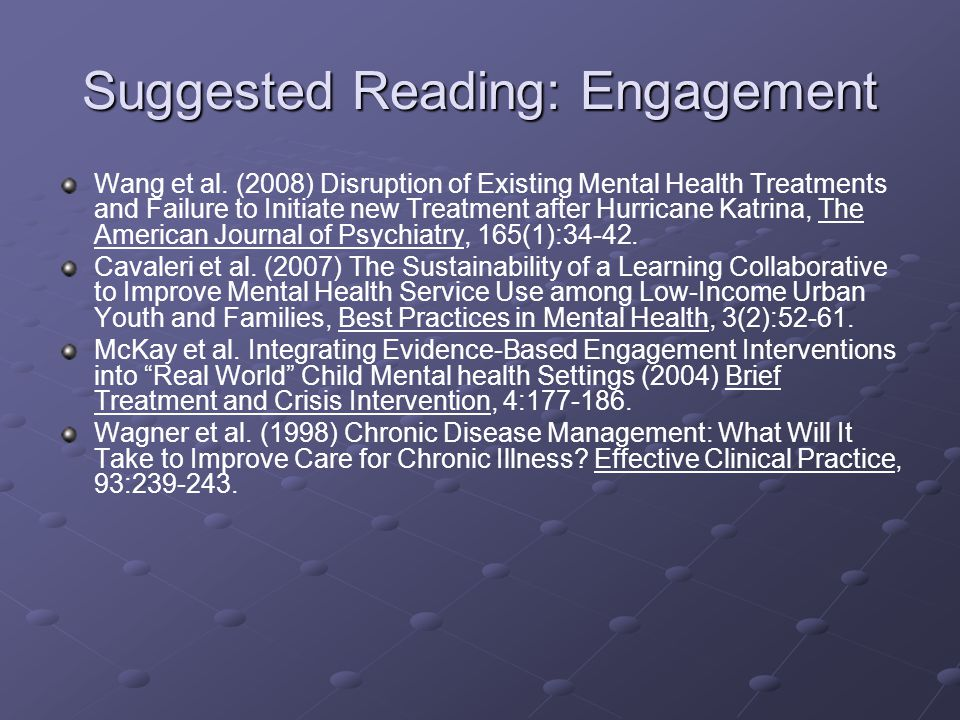Suggested Reading: Engagement