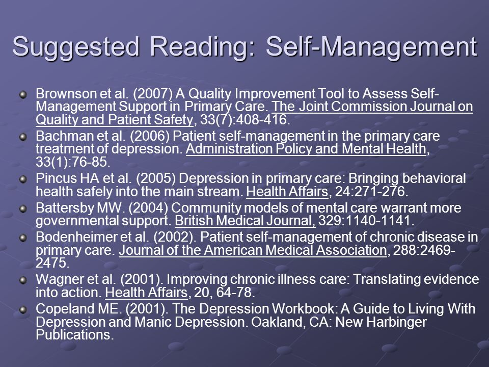 Suggested Reading: Self-Management