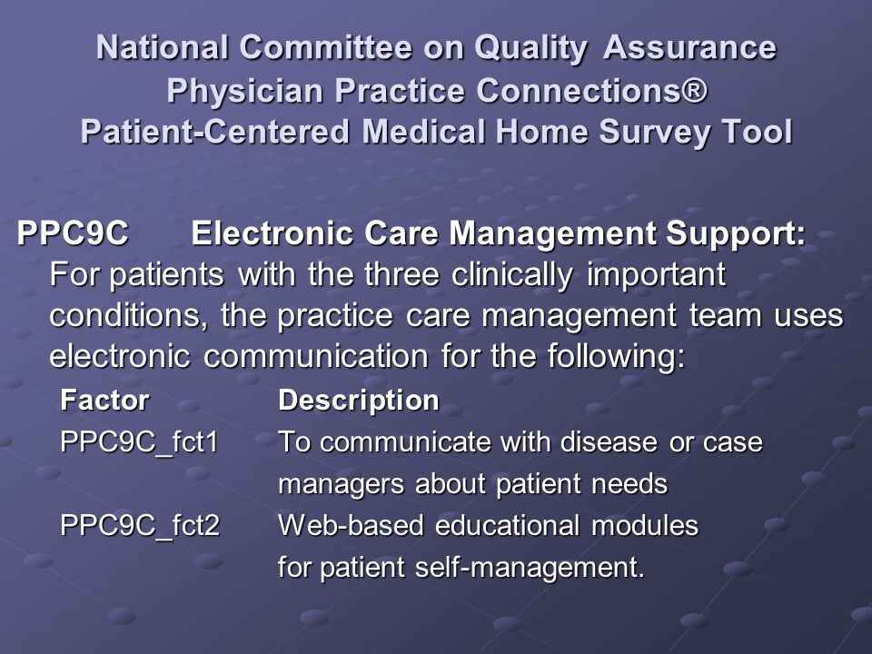 National Committee on Quality Assurance Physician Practice Connections® Patient-Centered Medical Home Survey Tool