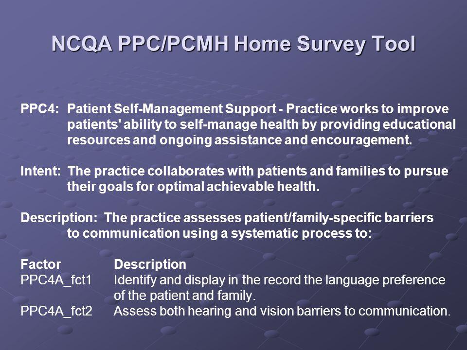 NCQA PPC/PCMH Home Survey Tool