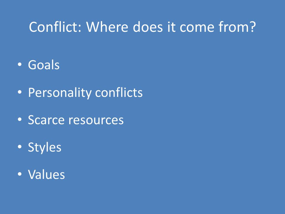 Conflict: Where does it come from