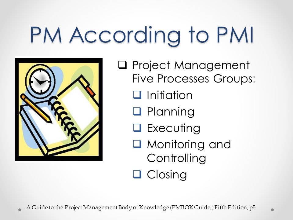 PM According to PMI Project Management Five Processes Groups: