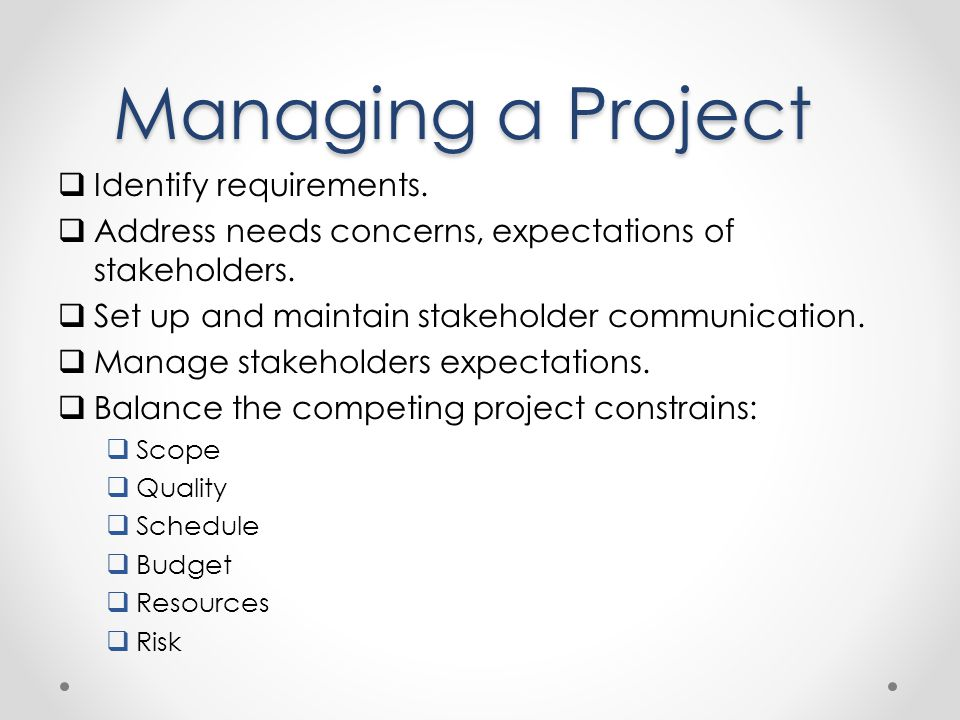 Managing a Project Identify requirements.